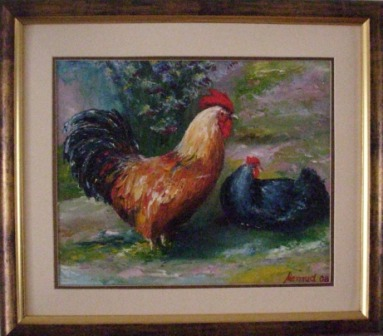 Pijetao u vrtu - ulje na platnu -- Rooster in the Garden - Oil on canvas