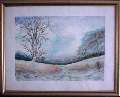 Zimski motiv sa sela - akvarel  -- Winter landscape from the countryside - watercolor